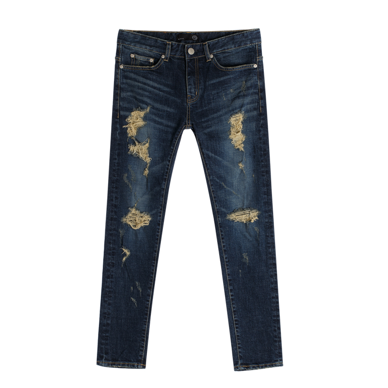 86RJ-1659 deep blue destroyed jeans