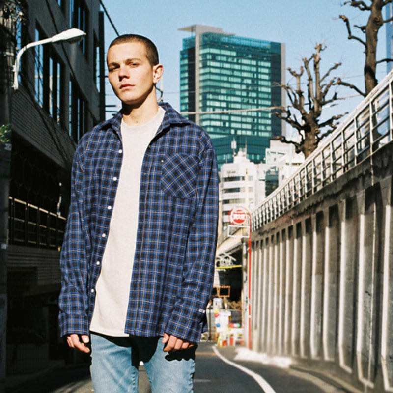2805 Oversize check shirt(Navy)