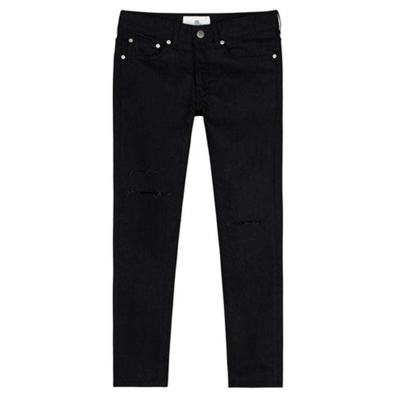 86RJ-1612 black cutting washing jeans