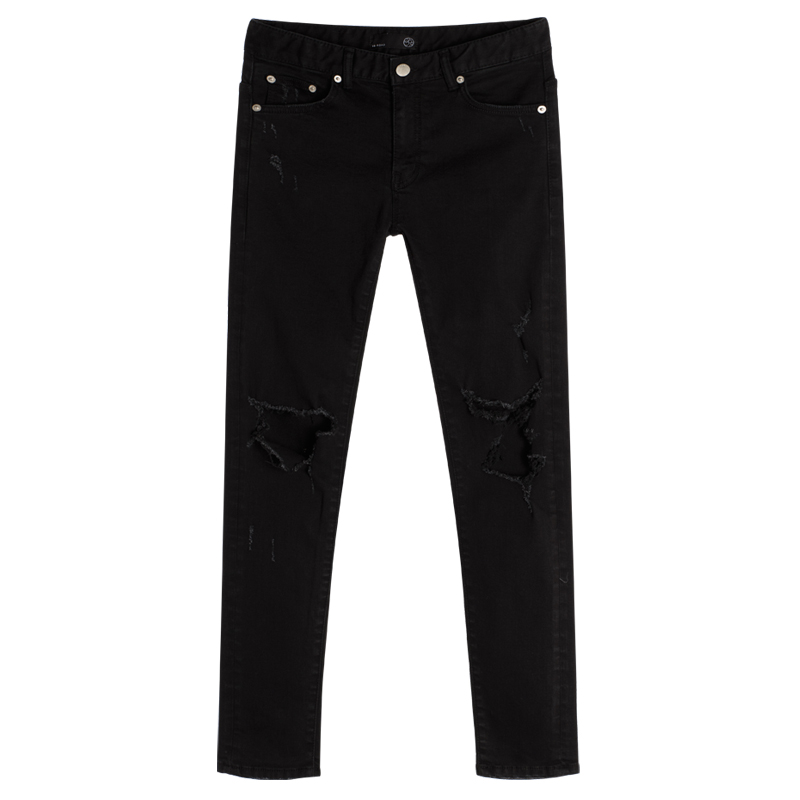 86RJ-1645 Open damage black jeans