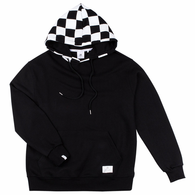 86RJ-2709 hood check point hoody _black
