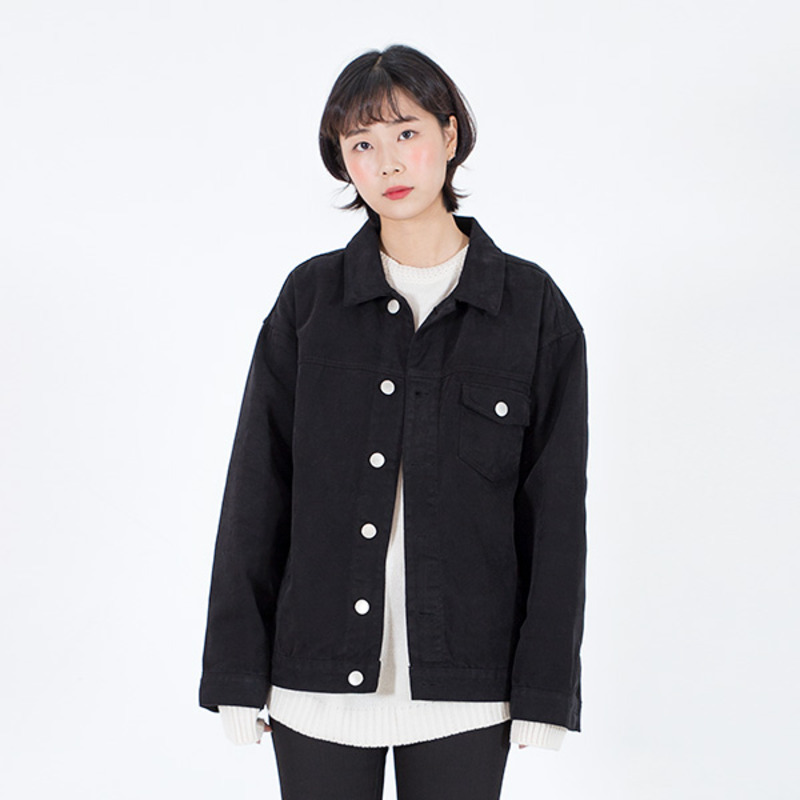 2723 Black cotton trucker jacket