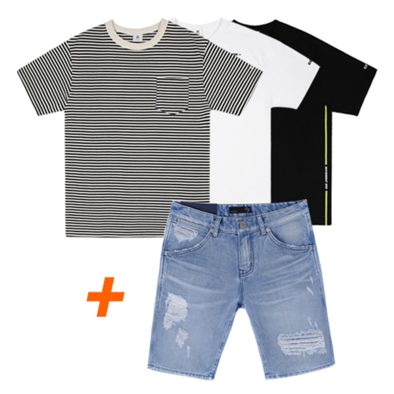 [1+1]86RJ-1613 washing destroyed denim shorts & 18s/s t-shirts