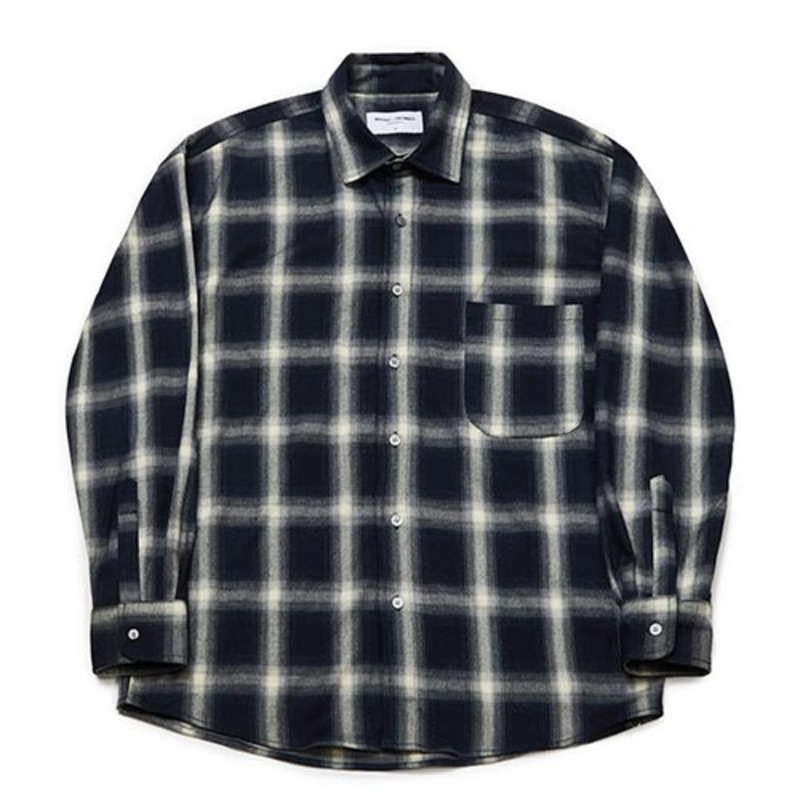 [PARTIMENTO x 86]Semiover Flannel Check Shirts (Navy)(20%SALE)