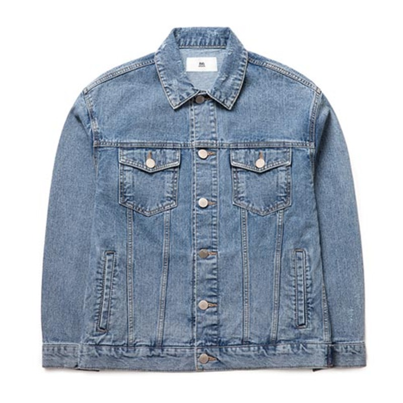 2826 Damage Stone Washing Denim Jacket (Blue Gray)