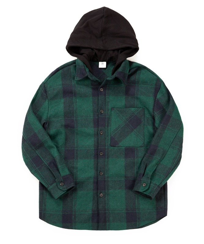 Hood Check Shirts Jacket - Green