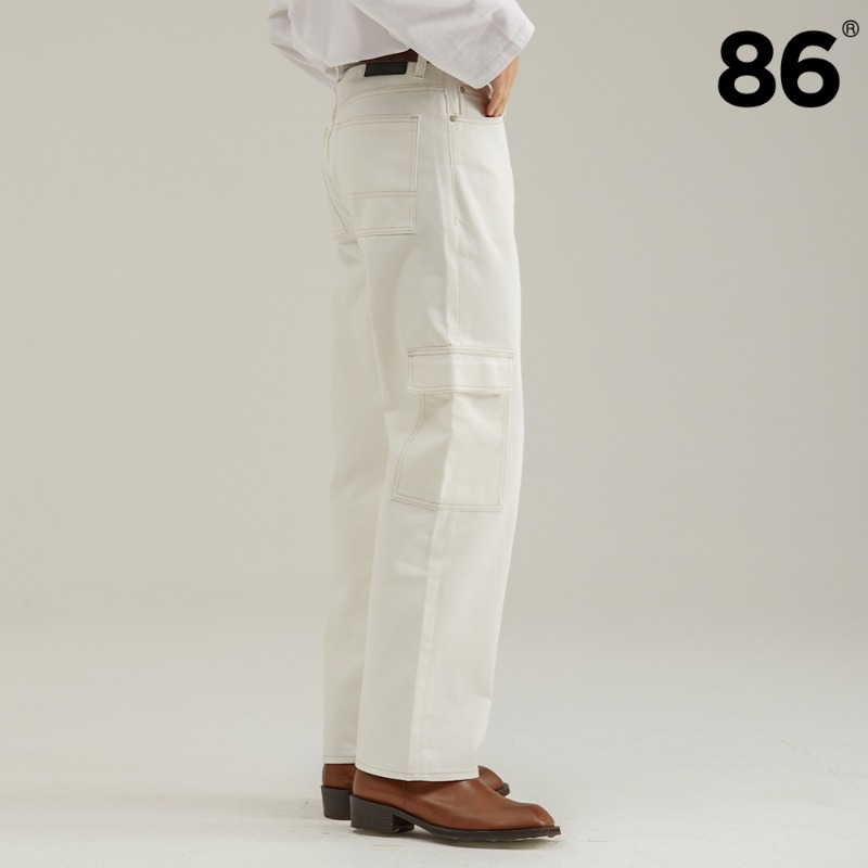 (20FW NEW) WHITE STITCH CARGO WIDE